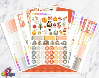 Autumn Cuties || Planner Sticker Kit, Autumn, Fall, Planner Stickers, Weekly Planner Kit, Planner Kit, Autumn Stickers, Fall Stickers