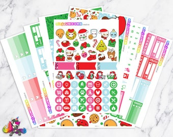 Kawaii Christmas || Planner Sticker Kit, Winter, Christmas, Planner Stickers, Planner Kit, Winter Stickers, Christmas Stickers