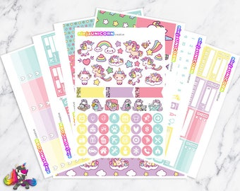Kawaii Unicorn || Planner Sticker Kit, Unicorn Stickers, Planner Stickers, Planner Kit, Weekly Planner Kit