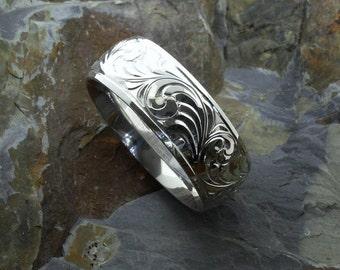 mens western wedding rings hand engraved ring custom couples | Etsy