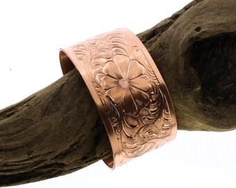 western cuff bracelet wide copper bracelet her bracelet gift romantic jewelry gift couples bracelet boho flower bangle southwestern jewelry