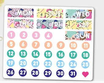 Weekly Date Covers, Weekly Covers, Date Stickers, Monday Stickers, Tuesday Stickers