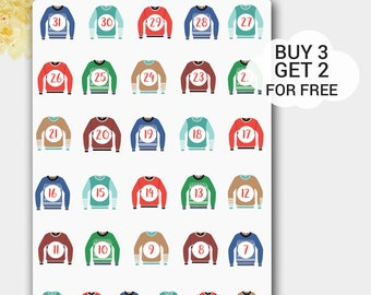 Ugly Sweaters Stickers, Ugly Sweaters Countdown, Planner Stickers