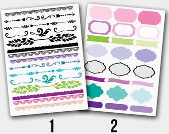 Border Stickers, Divider Sticker, Frame Stickers, Bullet Journal Sticker, Frame Planner  Stickers,Happy Planner Stickers,Decor Stickers,Bujo