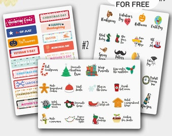 Holiday Stickers, Holiday Planner Stickers, USA Holiday Sticker Set, Holiday Stickers, Christmas Holiday Sticker, Planner Stickers