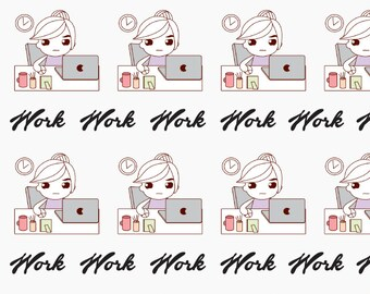 Doodle Work Planner Stickers, Laptop Sticker, Computer Stickers, Girl Boss Sticker
