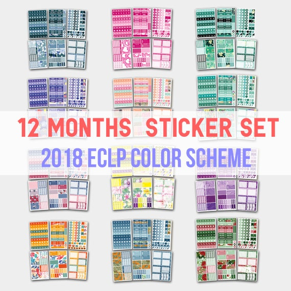 yearly planner yearly planner stickers yearly stickers 2018 etsy