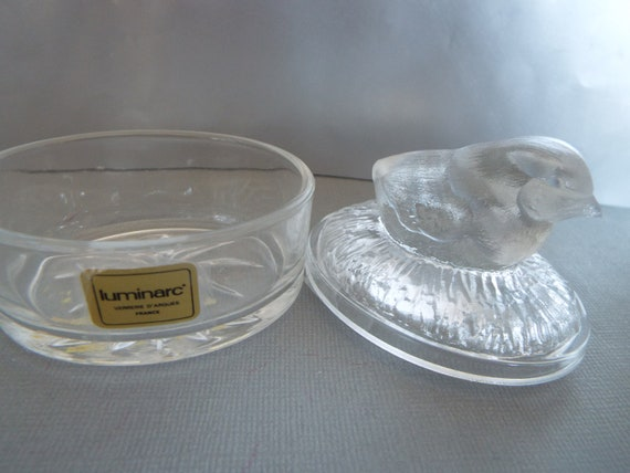 chick crystal trinket box Luminarc glass France  baby chick container Easter box  jewelry box