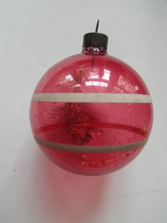 unsilvered WWII red christmas ornament tinsel inside  maked  U S O A