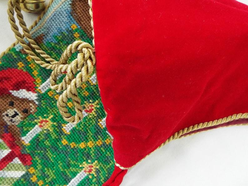 vintage needlepoint Christmas stocking JOY bears Christmas tree toys  wool red velvet gold cord bells 24x8
