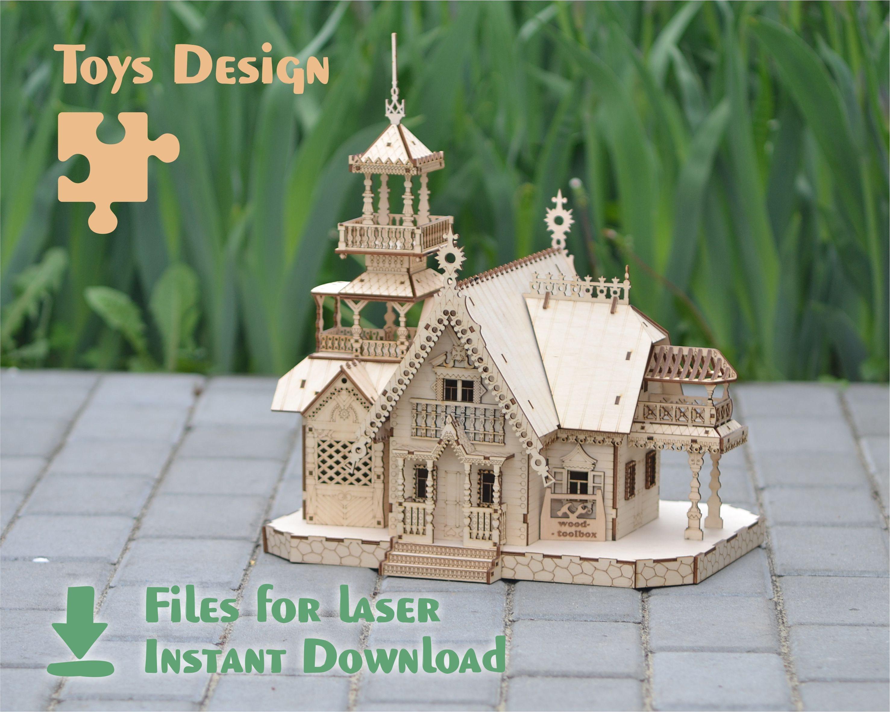 Fairytale House – Fichiers numériques pour la découpe et la gravure au laser. Conception instantanée de téléchargement pour la machine CNC. Plans et modèles