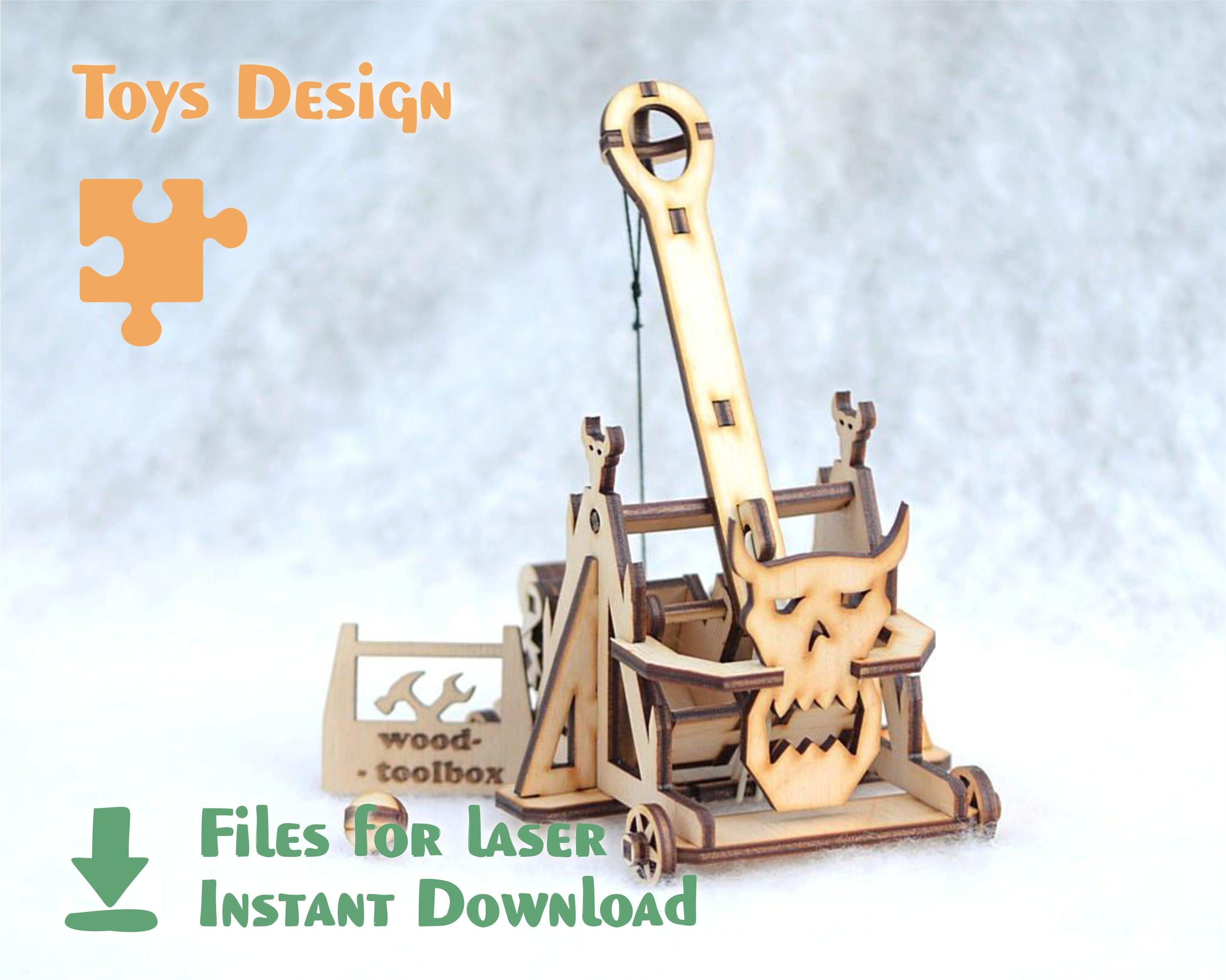 Catapulte d'Orc – fichier découpé au laser, dxf, conception de svg, modèle pour laser et CNC, fichier pour laser