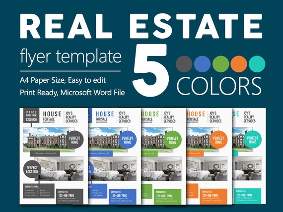 premium real estate flyers microsoft word easy to edit files etsy