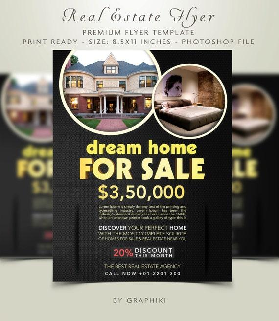 golden real estate flyer template real estate flyer for etsy