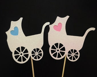 Set of 3 Baby Stroller Cupcakes Toppers. Gender Reveal. Baby Shower Cupcake Topper. Baby Carriage Cupcake Toppers. Baby Stroller Toppers.