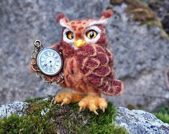 Needle felted cute miniature owl.  Needle felted bird sculpture. Little owl with watch.