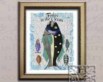 Nautical Art Literacy Dictionary Print ''Fishes in The Ocean' Print Wall hanging Art Print
