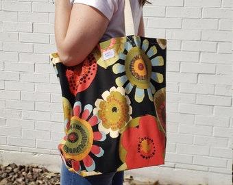 Yoga Bag in Aqua and Brown Floral Print