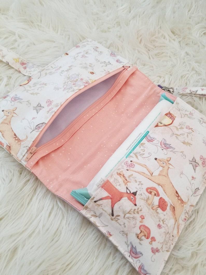nappy clutch linen Diaper wallet  w Zipper diaper and wipe holder purple diaper bag Diaper clutch nappy wallet deer