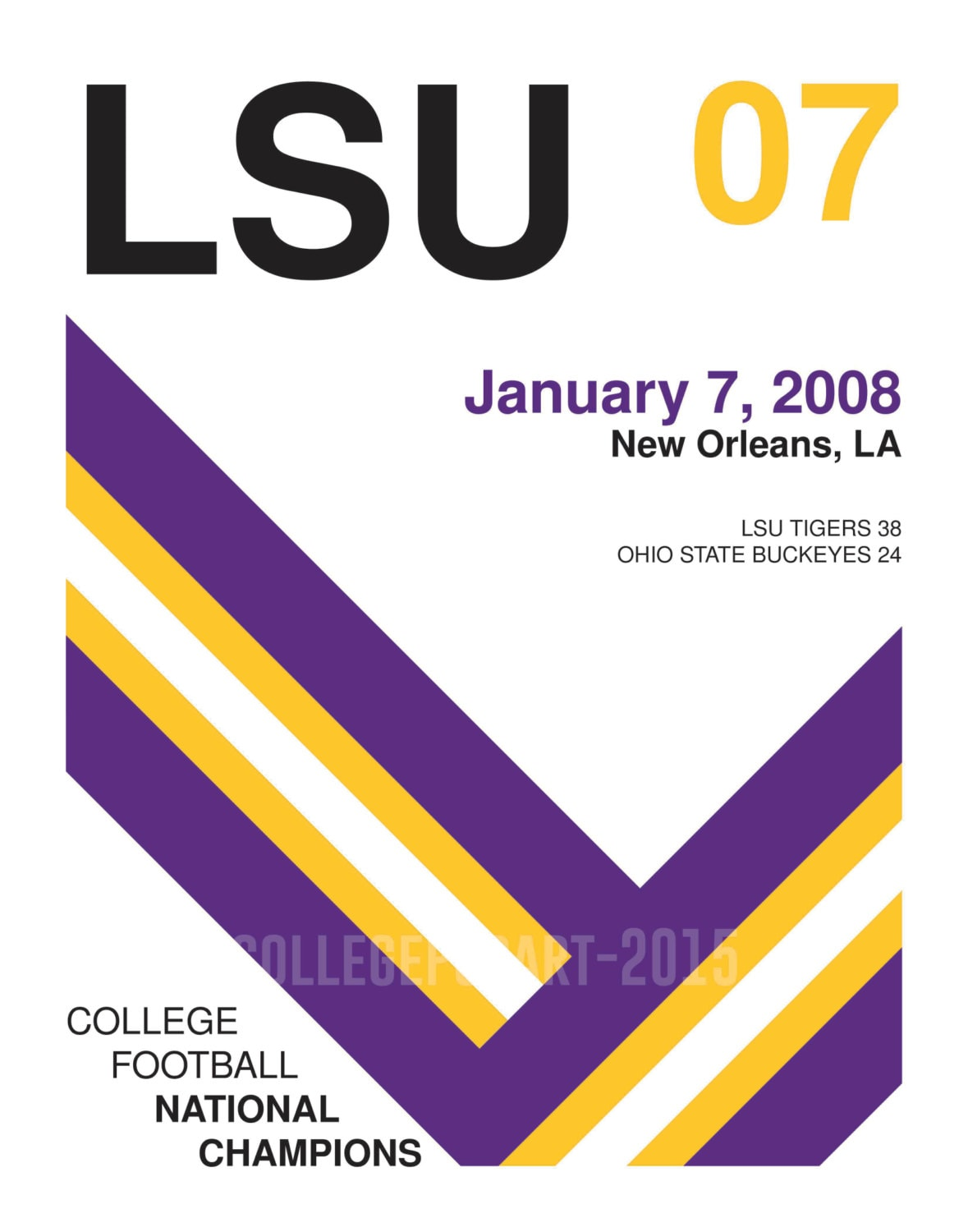 LSU Tigers 2007 College Football Champions Retro Style