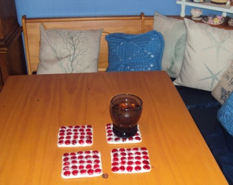 054 Set of 4 Red Mosaic Coasters