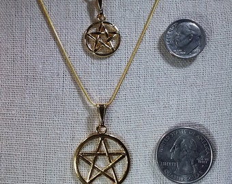 Gold Pentacle Charm Necklace Pagan Jewelry | Gold Pentacle Charm Necklacein 2 Sizes | Stocking Stuffer | For Her  Witch Jewelry | For Mom