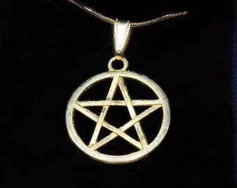 Pentacle Large Charm Necklace  Pagan Jewelry   Large Gold Pentacle  Necklace   Wiccan Jewelry    New Age   Witchcraft   Halloween costume