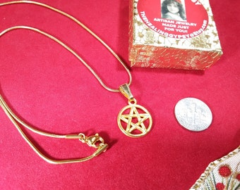 Pentacle Small Charm Necklace Pagan Jewelry   Gold Pentacle Charm Necklace    Witch Jewelry   For Mom   Halloween   BoHo Necklace