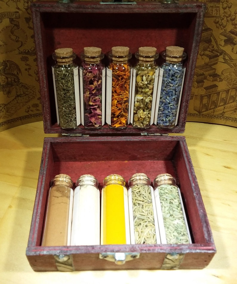 Witch Herb Kit | OrganicApothecary Box | 10 Vials of Dried Herbs, Spices,  Flowers Herbs and Seasonings | Home & Living | Free USA Shipping!