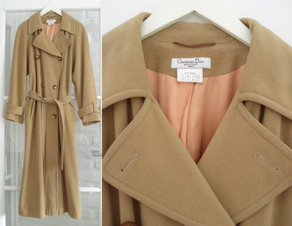 CHRISTIAN DIOR beige wool coat from 1990s