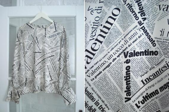 VALENTINO off-white and black newspaper printed bl
