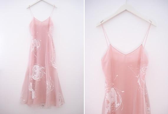 CHRISTIAN DIOR 1990s light pink silk maxi dress wi