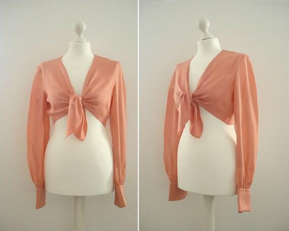 VALENTINO pink silk short tied blouse