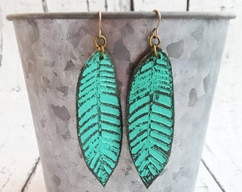 Leather Earrings, Leather Feather Earrings, Feather Earrings, Hand Painted Earrings, Turquoise Earrings, Boho Earrings, Long Earrings, Gift