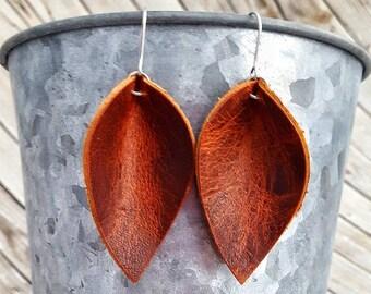 Leather Earrings, Brown Leather Earrings, Leather Petal Earrings, Leather Leaf Earrings, Lightweight Earrings, Dangle Earrings, Womens Gift