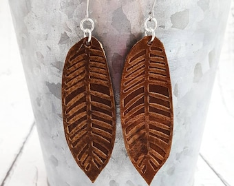 Leather Earrings, Feather Earrings, Bohemian Earrings, Brown Leather Earrings, Long Earrings, Leather Feather Earrings, Womans Gift