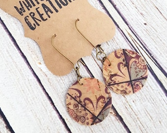 Cork Earrings, Boho Earrings, Dangle Earrings, Lightweight Earrings, Leather Earrings, Statement Earrings, Drop Earrings, Bohemian Earrings