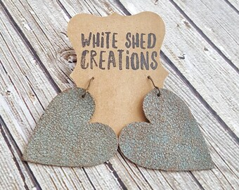 Leather Earrings, Dangle Earrings, Leather Heart Earrings, Large Earrings, Lightweight Earrings, Long Earrings, Heart Jewelry