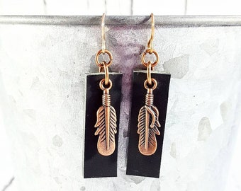 Leather Earrings, Feather Earrings, Leather Feather Earrings, Boho Earrings, Leather Bar Earrings, Boho Jewelry, Black Leather Earrings
