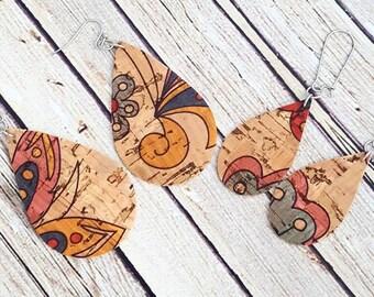 Teardrop Earrings, Cork Earrings, Cork Teardrop Earrings, Boho Earrings, Statement Earrings, Lightweight Earrings, Leather Earrings, Gift
