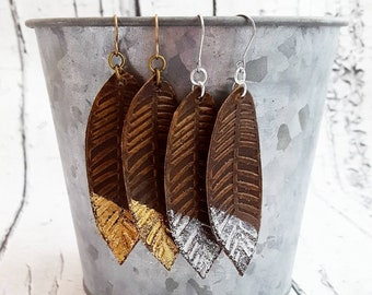 Feather Earrings, Leather Earrings, Leather Feather Earrings, Gold Dipped Leather Earrings, Silver Dipped Leather Earrings, Long Earrings