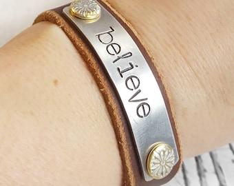 Leather Cuff, Leather Bracelet, Cuff Bracelet, Leather Wristband, Leather Jewelry, Brown Leather Cuff, Women Bracelet, Hand Stamped Cuff