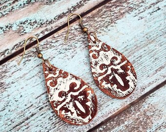Leather Dangles Layered Leather Earrings Flower Leather Earrings Peach and Brown Leather Earrings Floral Earrings Shabby Chic Earrings