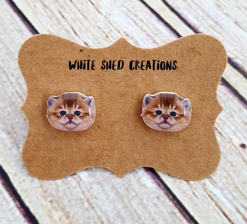 Little Girl Earrings Pet Earrings Kids Earrings Cat Stud Earrings Kitten Earrings Tiny Earrings Cat Post Kitty Earrings Cat Earrings