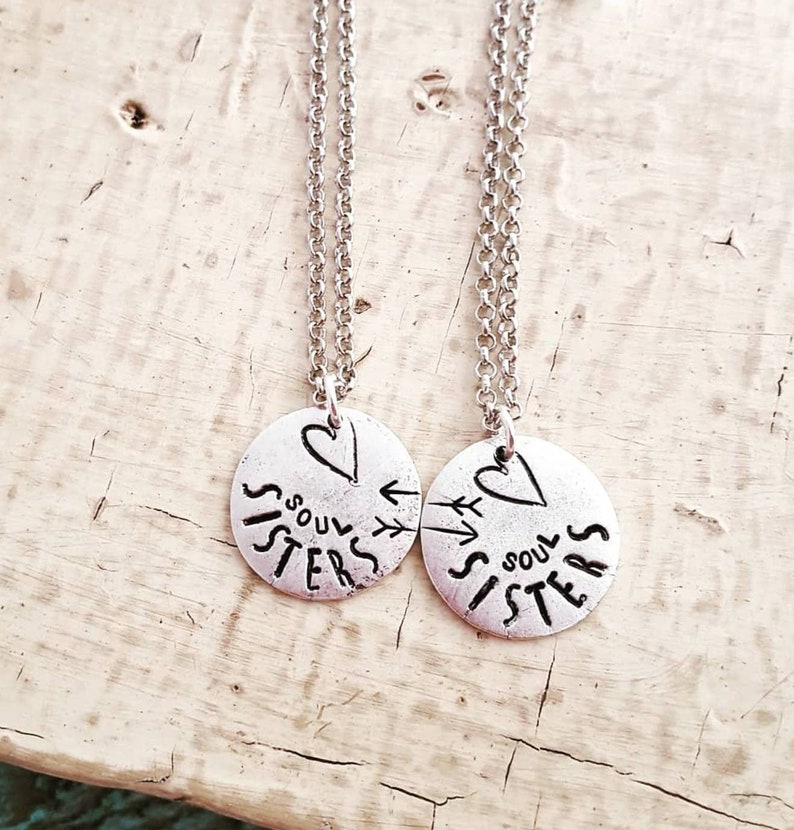 Friendship BFF Necklace Handstamped Necklace Matching Necklace Long Distance Gift For Friend Best Friends Soul Sisters Necklace