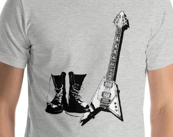 Rock Combat Boots Flying V Guitar Punk, Heavy Metal, Music lover concert Gift Idea Tshirt