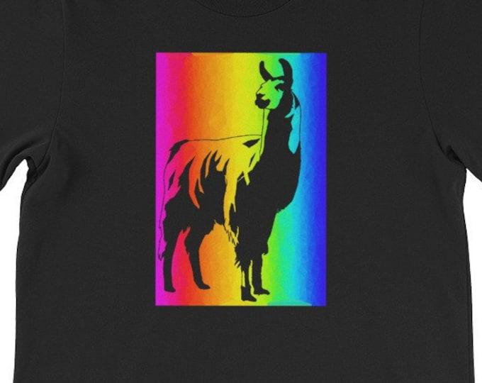 Llama Fun Psychedelic Color Spectrum Rainbow gift idea Tshirt