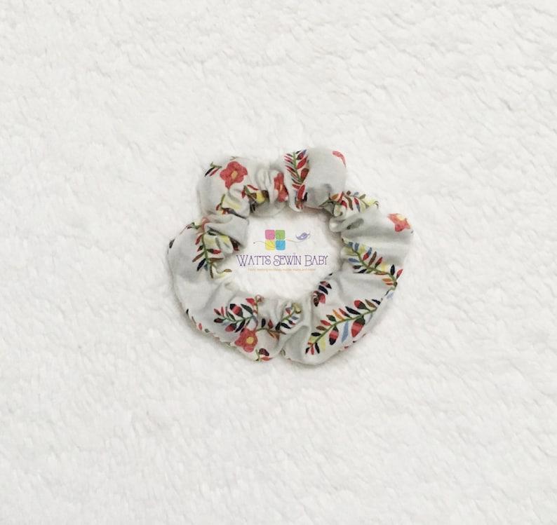 Scrunchies Scrunchie Cute Scrunchies Single Scrunchie Off White with red flower Scrunchie Everyday Scrunchie