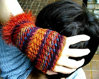Frizzle Fingerless Gloves Hand Warmers Mitts Knitting Pattern PDF Digital Download