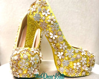38e602bfb667 Custom Womens Formal/Wedding Shoes, Yellow Glitter Pearls Rhinestone  Embellishments Swarovski Crystals High Heel Platform Shoes